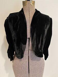 Lennie for Nina Leonard Black Velvet Bolero Shrug Large Cropped Jacket Evening