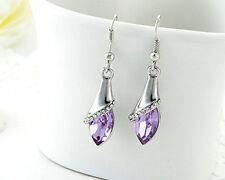 Women 925 Sterling Silver Crystal Long Drop Dangle Hook Earrings Jewelry