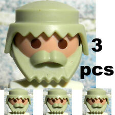 3 Pc  Playmobil Light Grey Heads with Hair and beards - Grandpa Heads