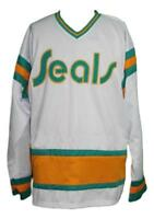 Any Name Number Size California Seals Custom Retro Hockey Jersey White Meloche