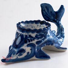 "Gzhel Porcelain Caviar server bowl holder ""Sturgeon"" Acipenser Hand painted"