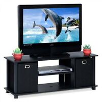 TV Stand Console Media Cabinet Table Entertainment Center Wood Storage Bins