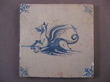 Antique Dutch Delft tile sea creature marine creature 17th - free shipping