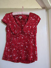 Whistles Red Pink Black & White Silk Spotted V Neck Short Sleeve Top in Size 8