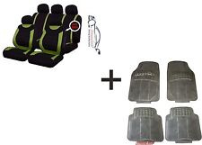 CARNABY GREEN Universal CAR SEAT COVERS PROTECTORS+RUBBER MATS GENUINE FOOT WELL