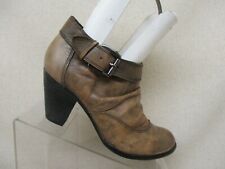 ALDO Distress Brown Leather Slouch Heeled Ankle Fashion Boots Bootie Size 38 EUR