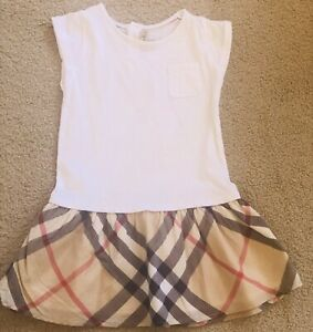 BURBERRY Baby Girls Classic Print and White Dress Size 2 Years