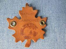 Vintage Nature Campree Necktie Neckerchief Slide Leather Leaf Shape Brown Skunk