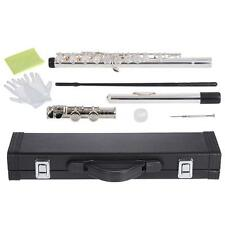 ammoon Silver Close Hole C Flute Cupronickel +Case+Tuning Rod For Kids S9F4