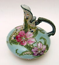 Excellent Antique Hand Painted Nippon Moriage Floral Ewer Vase Early 1900s
