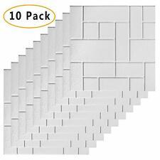 Awekris 3D Peel and Stick Tile Backsplash 10 Sheets Subway Tile for TV Walls, Be
