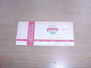 1993 St Louis Cardinals v Philadelphia Phillies Spring Training Baseball Ticket