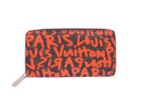 Auth Louis Vuitton Monogram Graffiti Zippy Wallet Brown/Orange *USED* - e41562