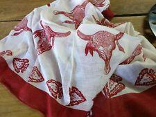1 x Buffalo Red Indian Prints Scarf /  Headscarf / Bandanna 100% Cotton
