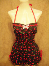 Black  cherry halterneck playsuit! Rockabilly,1940's,1950's,pin-up,vintage!   XX