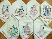 Vintage Set of 7 Day Kitchen Dish Towels Southern Lady Flour Sack Embroidered