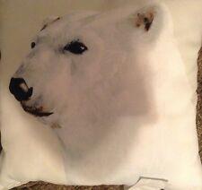 Pottery Barn Polar Bear Outdoor Pillow 20x20 White Holiday Winter NWT!