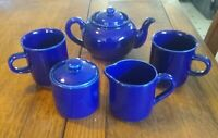 New! Vintage HIC Cobalt Blue Tea Set for 2 ~ Japan
