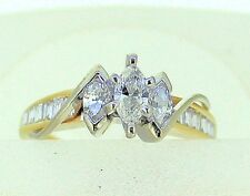 3/4 tcw DIAMOND THREE-STONES AND ACCENTS RING SOLID 14 k GOLD 4.1 g SIZE 7
