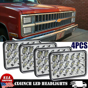 "4""X6"" 4PCS LED Headlights Sealed Hi/Low Beam For Chevy C10 Pickup 81-1987 Truck"