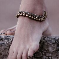 Boho Gypsy Belly Dance Jingle Bell Drop Anklet Bracelet Foot Ankle Chain Silver