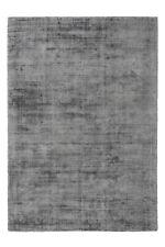 Flachflor  Viskose Handgewebt Teppich Kurzflorteppich Grau Anthrazit 80x150cm