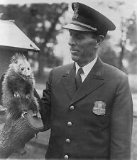 White House Police Officer Snodgrass holds a possum May 6, 1929 New 8x10 Photo