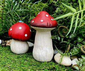 Mini Fairy Garden Ceramic Red Cap Mushrooms Gnome Village Mushroom Set Of 2 NEW