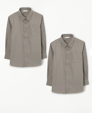 John Lewis, Boys Long Sleeve Grey School Blouse, Age 14, Pack of 2, Non-Iron