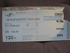 U2 TICKET STUB Köln/Cologne Germany Elevation Tour 2001 used original!