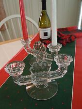 FOSTORIA AMERICAN PATTERN ELEGANT GLASS HEAVY  DBL CANDLE HOLDERS