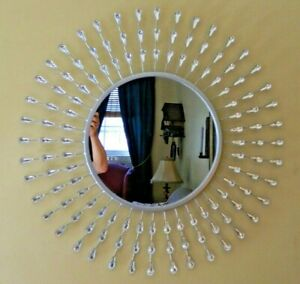 Rare Custom Designed Tear Drop Jeweled 29 Inch Round Mirror By Nanette LePore