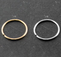 14k Gold Seamless Nose Hoop Ring Ear Tragus piercing 22G (0.6 mm) Body Jewelry