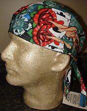 Pin Up Girl Aces Nude Green Red White Head Wrap Bandanna Sweatband Durag Biker