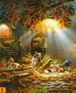 """Terry Redlin """"OUR FRIENDS"""" Dogs Cats 100 Pieces BOXLESS Jigsaw Puzzle *NEW*"""