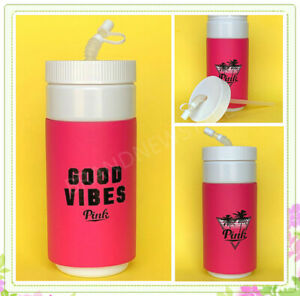 Victorias Secret HOT PINK Retro Good Vibes WATER BOTTLE 32OZ White Straw NEW