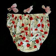 """100% polyester SATIN String bikini Vintage Roses sissy panties sz M/6 22-40"""""""