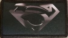SUPERMAN LOGO Patch W/ VELCRO® Brand Fastener Tactical Black & Gray Version