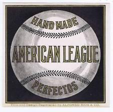 American league, original outer cigar box label, baseball