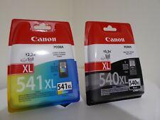 Original Canon 540XL Black + 541XL Colour Ink Cartridges - new + sealed