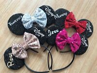Disney Personalised Sequin Minnie mouse Head Band ears Kids Adults matching pink