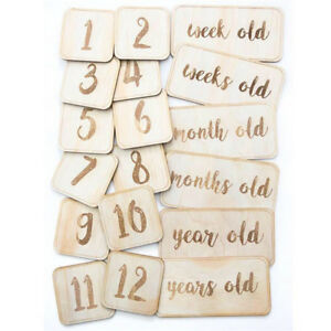 Infant Baby Newborn Year Monthly Wooden Memory Card Photograph Photo Props Q