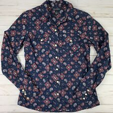 Lucky Brand Womens Small Blouse Paisley Navy Blue Pink Snap Buttons Long Sleeve
