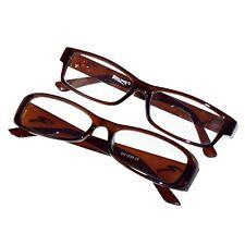 Reading Glasses Brown Plastic Framed 1 Pair Unisex Sight Lens +2.00