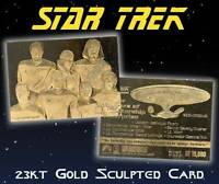 STAR TREK NEXT GENERATION Senior Officers Starship 23KT Gold Card #/10,000 BOGO