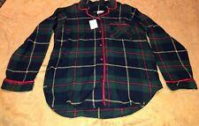 New Womens Button  Chance Encounters Plaid Green Red Plaid Shirt PJ Sleep Sz Med
