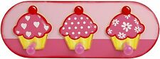 Tidlo Trio of Cupcakes Wooden Childrens Coat Pegs / Hooks . Girls bedroom Decor