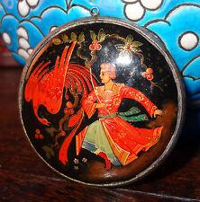 Miniature peinture laque pendentif légende russe phénix Palekh Fedoskino