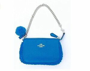 Coach Wristlet Leather SV/Peacock Nolita 15 With Shearling Trim