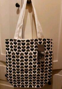 """RVCA MP Tote Bag """"Hearts"""" Black/Gray *NEW* 100% Cotton"""